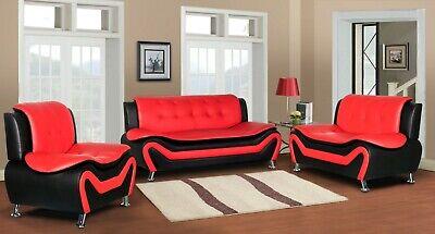 Wanda Red Black Bonded Leather living room 3PC 2PC Sofa set Loveseat Chair Modern Black Leather Sofa