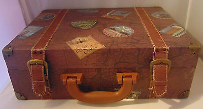 World Map States Trunk Suitcase Travel Antique Leather Straps Magnetic Closure