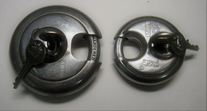 "ABUS~LARGE 3- 5/8"", 2 3/4"" DIA.~STAINLESS S. 24/90, 24/70 German DISKUS LOCKS!"