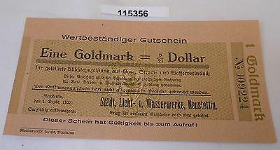 1 Goldmark Banknote wertbeständiges Notgeld Stadt Neustettin 1.12.1923 (115356)