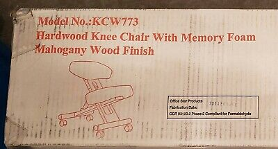 Office Star Products Ergonomic Knee Chair With Memory Foam Mahogany