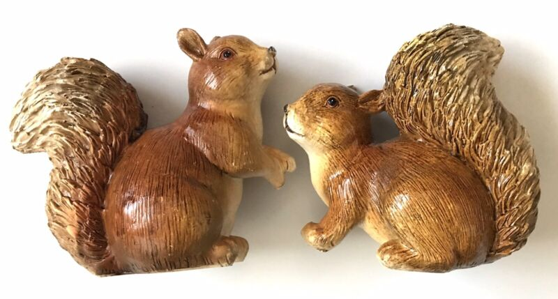 Squirrel Fall Home Decor Resin Figurine Statue Pair Of 2