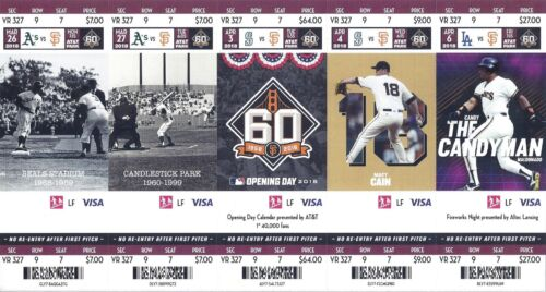 Ticket Stubs Stub San Francisco Sf Giants 2018  Mar Apr May Jun Games New Mint