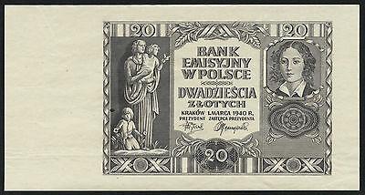 Ro.575y Polen 20 Zlotych 1940 Druckprobe (2)