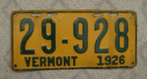 A51 - VERMONT 1926 LICENSE PLATE 29-928