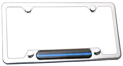 Stainless Steel Polished Mirror License Plate Frame (Thin Blue Line) ()