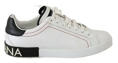 DOLCE & GABBANA Shoes Sneakers White Leather Silver Logo Casual Mens EU46 / US13