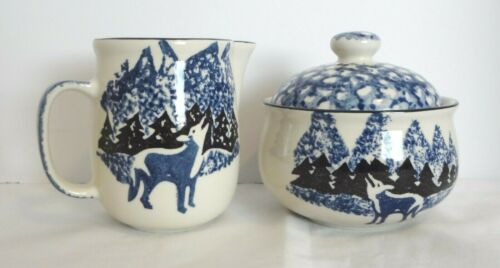 Tienshan Folk Craft WOLF Creamer & Covered Sugar Set Blue Sponge Stoneware EUC