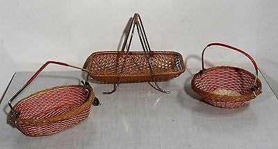 Rockabilly 50s - 3 kleine Tragekörbchen Körbchen Bastkörbchen Korb ~1950er