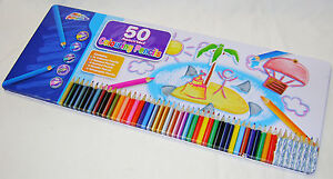 NEW-50-COLOURING-PENCILS-IN-LARGE-TIN-RAINBOW-SCENTED-METALLIC-HOLOGRAM-GRAFIX