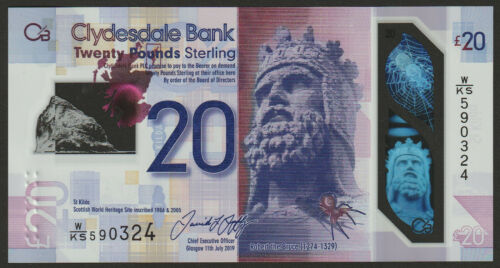 Clydesdale Bank Scotland 20 Pounds 2019 UNC NEW