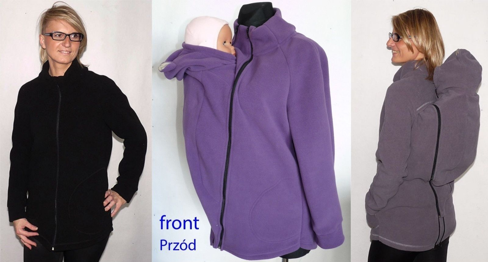 3 IN 1 BACK FRONT JACKET BABYWEARING FLEECE HOODIE GREAT FOR AUTUMN WARM COSY