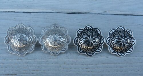 """Set of 2 Jeremiah Watt Horseshoe Brand Floral Engraved Concho with Loop 1-1/2"""""""