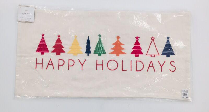 "NWT 12""x24"" Pottery Barn Christmas Tree Pillow Case Cover, Rainbow/PRIDE"