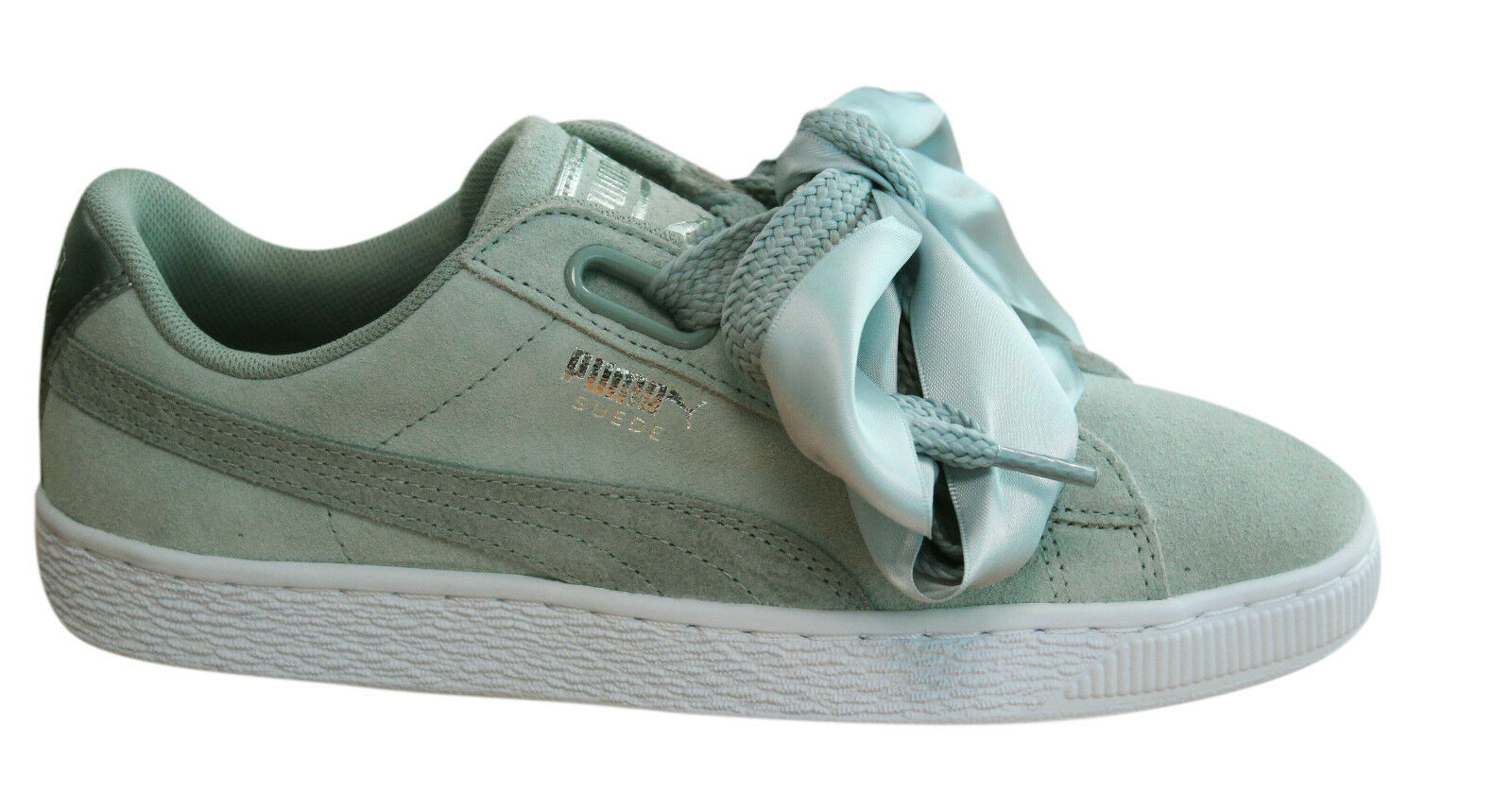 cff3d62c0dd27e Puma Suede Heart Safari Womens Trainers Lace Up Grey Leather 364083 ...