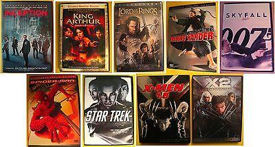 9 DVD Lot Inception Star Trek Lord of the Rings Skyfall Spider-Man X-Men & (X-men Star Trek)