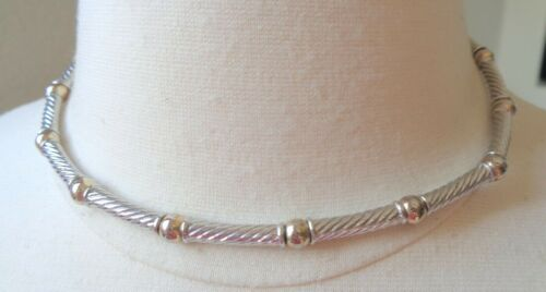 NAPIER Signed, Silver and Gold Tones, Vintage Choker Necklace.