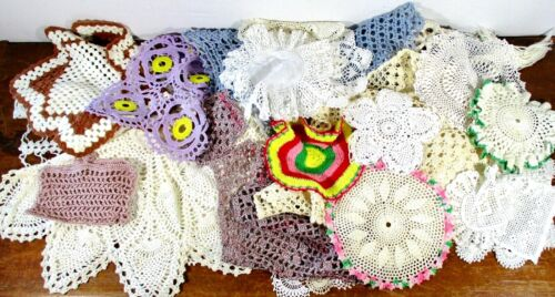 Lot of Vintage 33 Crocheted Doilies Table Runners~ White / Colors