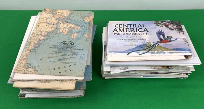 Lot of 100 + National Geographic Map, US, World, Oceans, Moon, 70s 80s 90s