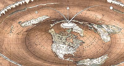 Flat Earth Map - Square and Stationary Earth Orlando Ferguson- Poster 24 x 18