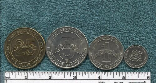 (4) Different Discovery Cruises Vintage Casino Tokens: $25 - $5 - $1 - $.25