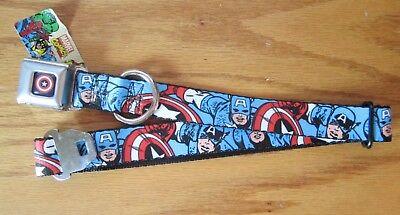 Hund Captain America (Captain America Marvel Comics Seat Belt Dog Collar Buckle Down SHIELD FACES 0188)