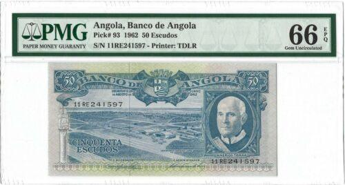 ANGOLA 50 Escudos 1962, Banco de Angola P-93, PMG 66 EPQ Gem Unc Finest Grade