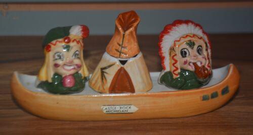 ~Vintage Native American Indian Chief Canoe Salt & Pepper Shakers Sugar Holder~