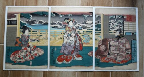 Antique Japanese Woodblock tryptic original prints by Toyokuni III