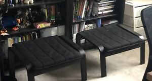 Poang IKEA chairs with footstools