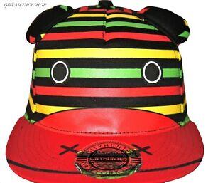 EXCLUSIVE-RASTA-CARTOON-SNAPBACK-CAPS-FLAT-PEAK-BASEBALL-FITTED-HATS-BLING