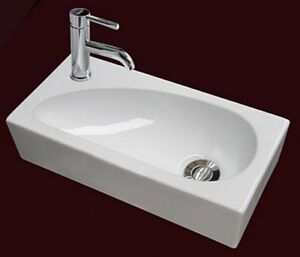 Left Hand Compact Small Square Wall Hung Cloakroom Ceramic