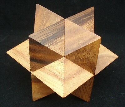 - Star Cube brain teaser wood puzzle size LARGE