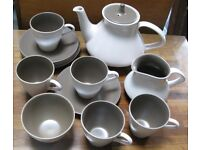 Poole pottery Vintage 1960's 14 piece Tea set No chips 2 colour Chocolate brown and cream