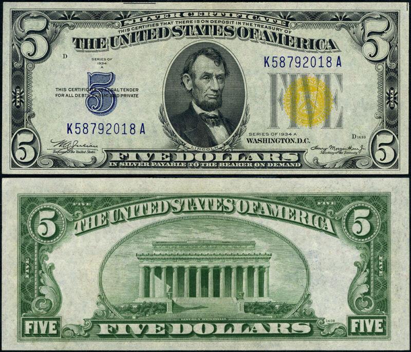 FR. 2307 $5 1934-A North Africa Note K58792018A K-A Block Choice AU