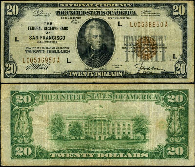 FR. 1870 L $20 1929 Federal Reserve Bank Note San Francisco L-A Block VF