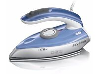 Brand New SEVERIN TRAVEL STEAM IRON silver - blue, 1000W, 50ml water tank and foldable handle