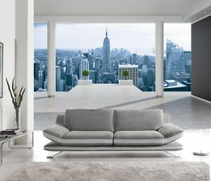 papier peint intisse trompe l 39 oeil photo murale relief 3d balcon new york ebay. Black Bedroom Furniture Sets. Home Design Ideas