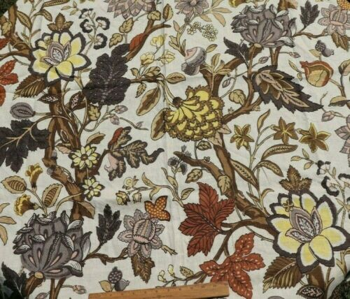 """Vintage Linen Big Scale Exotic Indienne Fabric Panel~Mid 20thC~L-48"""" X W-56"""""""