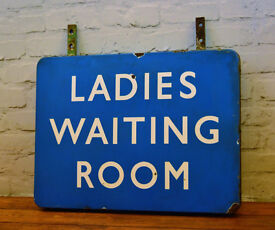 Scottish double side Ladies waiting room railway enamel sign railwayana rail vintage antique mancave