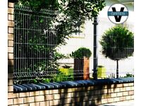 Galvanised black fence panel 250x123 cm metal steel mesh