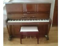 Upright piano and stool £35