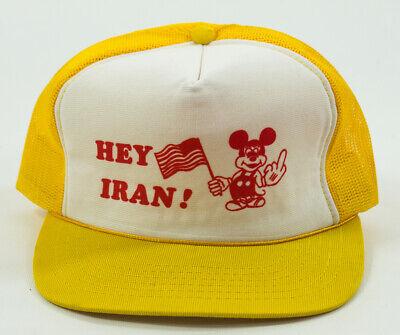 Vintage 80's Hey Iran Mickey Mouse Propaganda Hat Trucker Cap Mesh Back