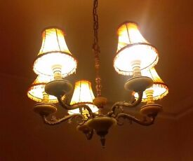 Solid brass 5 arm chandelier with ruffled amber shades