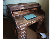 Antique Roll Top Desk - Oak - Double Pedestal - Edwardian