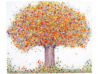 VERY LARGE NEW ABSTRACT ORANGE YELLOW AUTUMN TREE MODERN ART PAINTING ON BOX CANVAS | Free Delivery