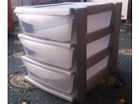 3 Drawer Stationary Storage with Clear Drawers for easy viewing.