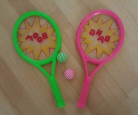 Used Tennis Boom Bat Racket Set 4 Piece Outdoor Kids Fun Game, Collection Only