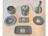 A Collection of Wedgewood Blue, Jasper Ware Pottery....all in near perfect condition.