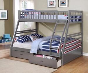 FREE Delivery in Montreal! Fraser Twin over Full Bunk Bed w/ Storage Drawers!  Brand New!